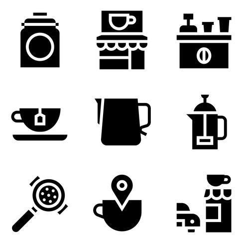 Kaffee in Verbindung stehender Vektorikonensatz, fester Schweinestall