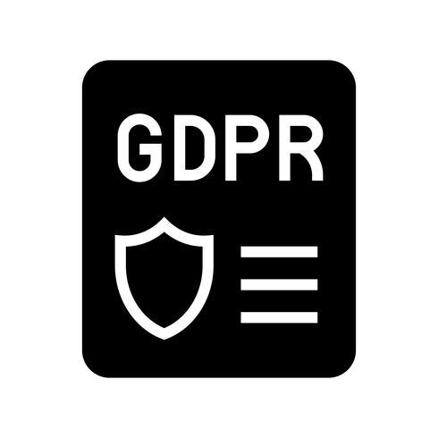 GDPR Icono de regulación de protección de datos general, estilo sólido