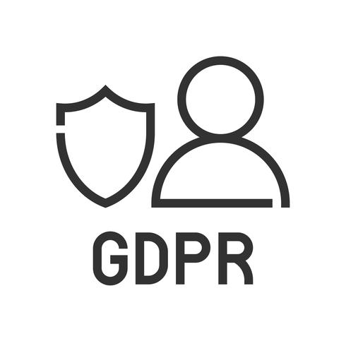 GDPR Icona di regolazione della protezione dei dati generali, stile della linea