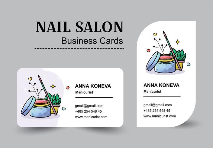 Set Vector plate de cartes de visite pour salon de manucure dans un style linéaire.
