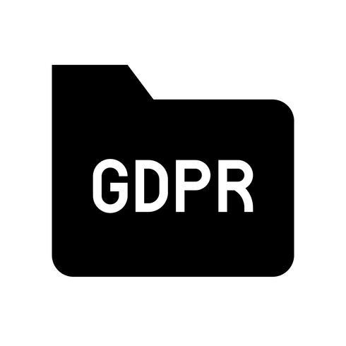 Icona di GDPR General Data Protection Regulation, stile solido vettore
