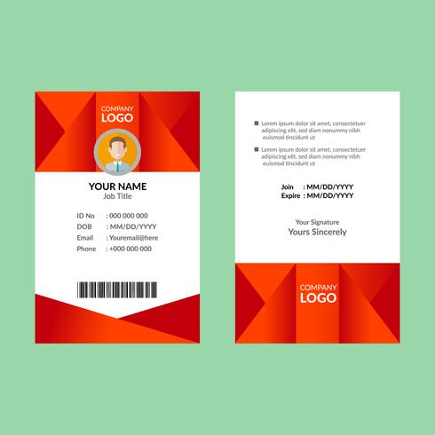 Red ID Card Template 08