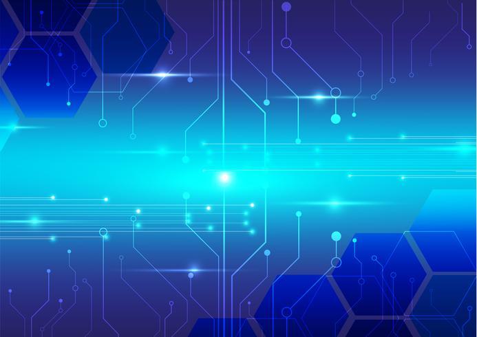 abstrakt digital teknik med blå bakgrund vektor design