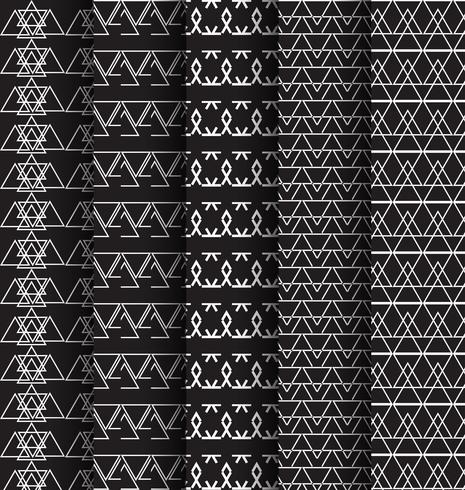 abstact pattern triangle black and white 5 set
