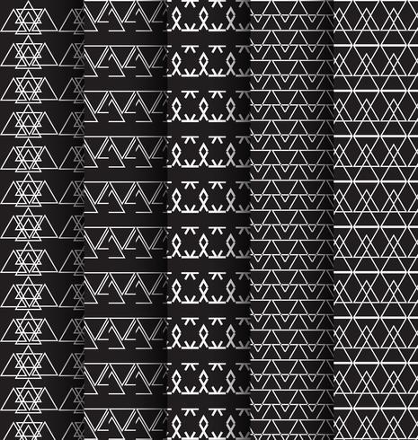 abstact patroon driehoek zwart en wit 5 set