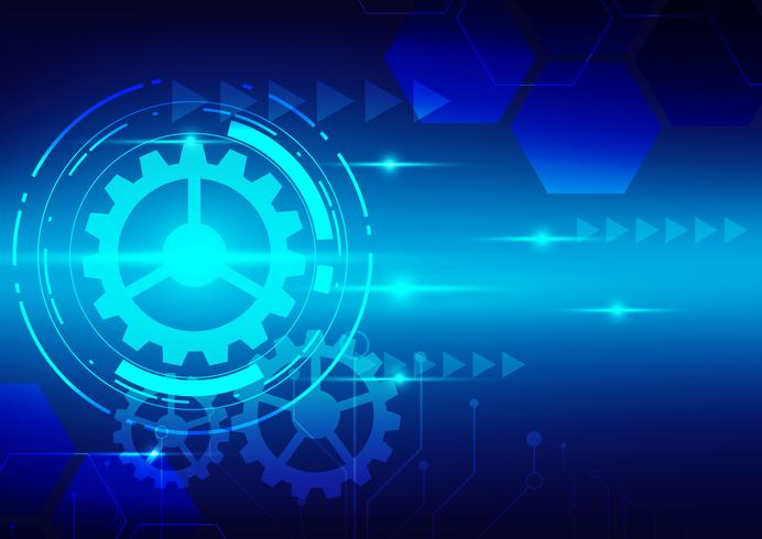 abstract digital technology with blue tech background vector design2