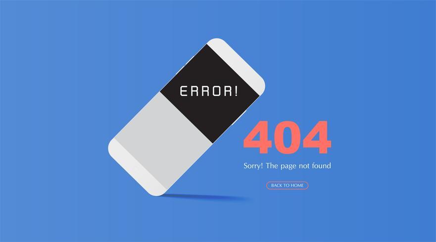 Página de erro 404 não encontrada conceito em fundo azul para sites em construções. vetor