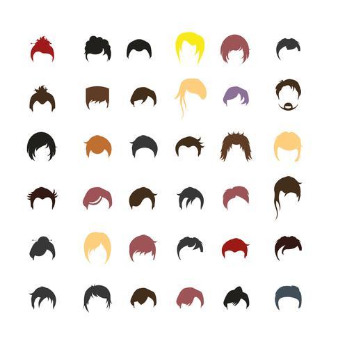 Conjunto de avatares de peinado de personas con fondos. vector