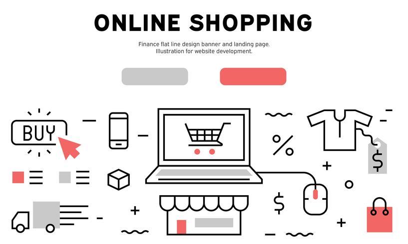 Online Shopping bannière de conception de ligne plate et page de destination. Illustration pour le développement de sites Web