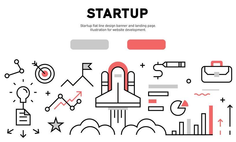 Bandeira de design de linha plana de inicialização e página de destino. Ilustração para desenvolvimento de sites vetor