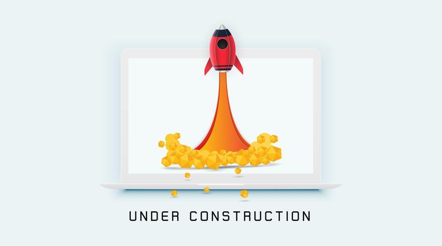 Página En construcción concepto en fondo blanco para sitios en construcción. vector