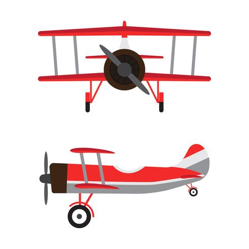 Vintage airplanes or retro aircrafts cartoon models isolated on white background