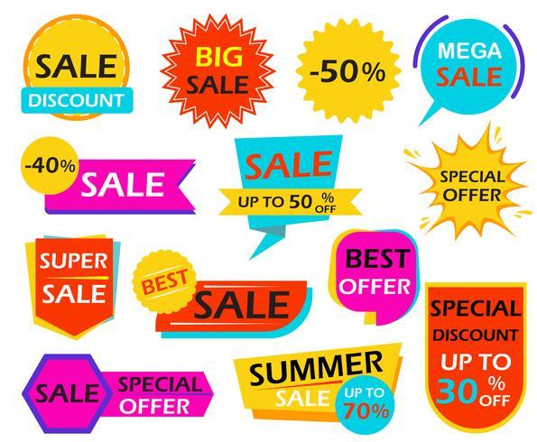 Conjunto de marcas de elemento de design de banner de venda - ilustração vetorial