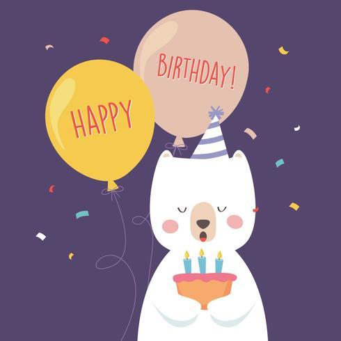 Cartão de cumprimentos animal feliz aniversário vetor