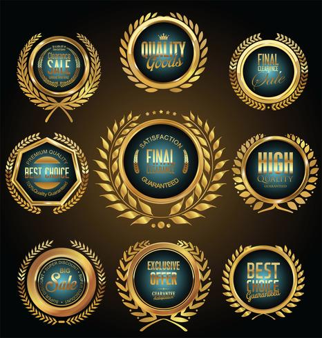 Venta de oro etiquetas colección retro diseño vintage vector