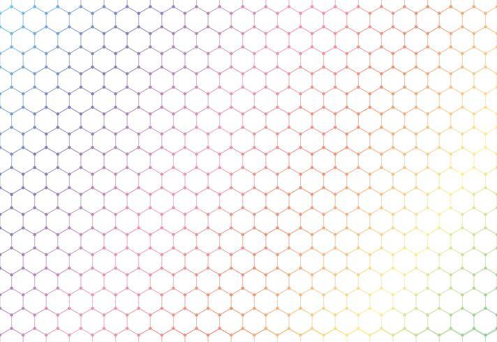 Nahtloses Muster der abstrakten bunten Hexagone auf weißem Hintergrund und Beschaffenheit.