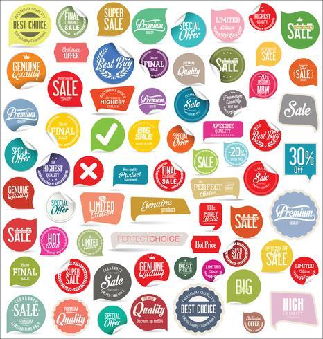 Coleção de etiquetas e etiquetas de emblemas modernos vetor