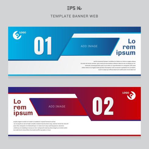 Bannière web modèle mise en page abstrait couleur rouge et bleu géométrique entreprise concept couverture en-tête fond