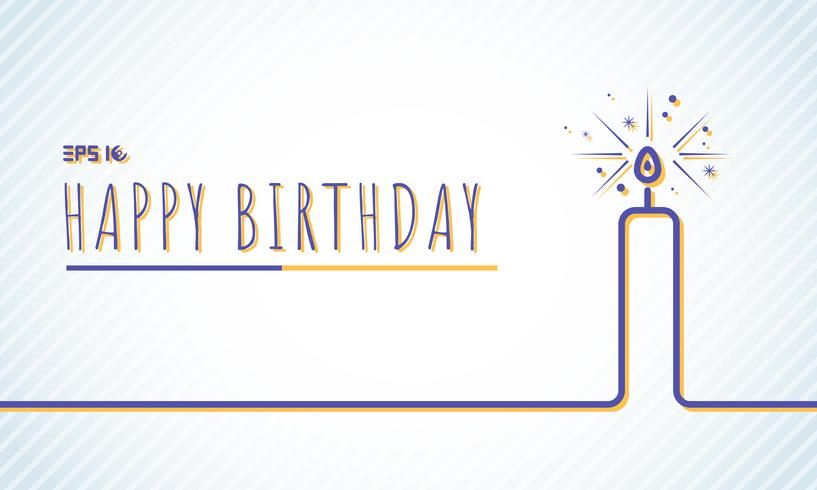 Tarjeta de felicitación del feliz cumpleaños de la plantilla con la línea azul de la vela en fondo del color de pasteles.