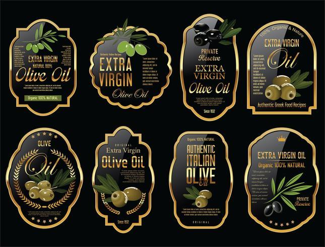 Colección de etiquetas retro de aceite de oliva. vector