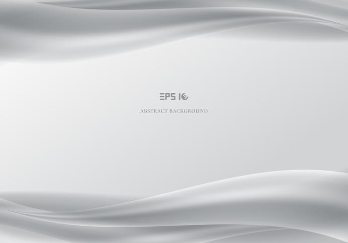 Cabeçalho de modelo e rodapés abstratas ondas brancas suave fundo cinza.
