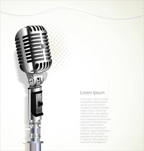 Retro vintage microphone design background vector