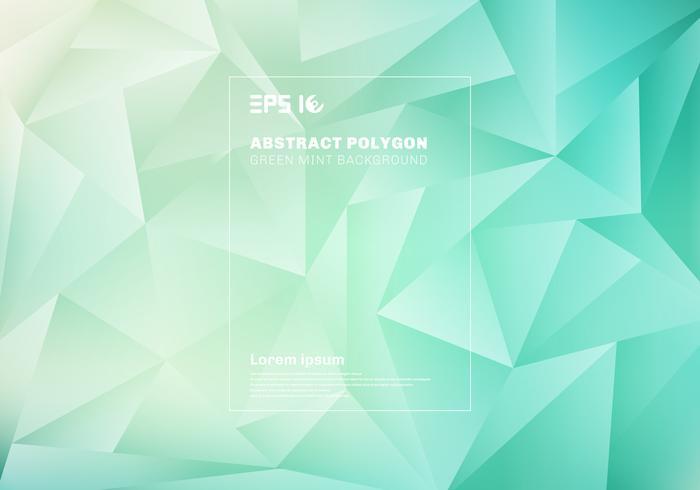 Baixo padrão abstrato do polígono ou dos triângulos no fundo e na textura da hortelã do verde azul. vetor