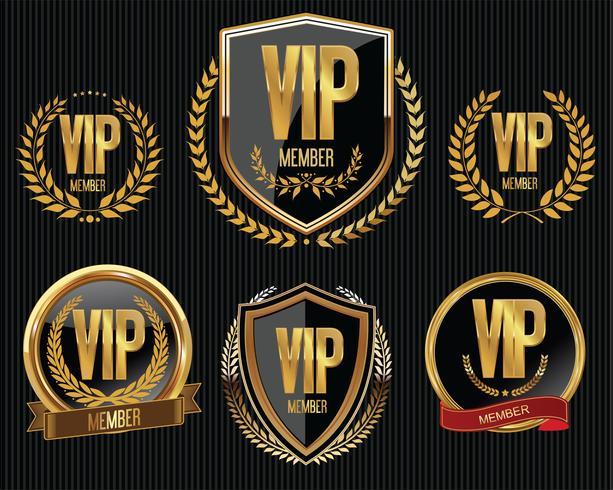 Colección de la insignia de oro miembro vip vector