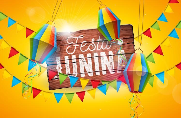 Festa Junina Tradizionale Brasile giugno Festival Design con tipografia Lettera su tavola di legno d'epoca. Illustrazione di celebrazione di vettore con bandiere di partito e lanterna di carta