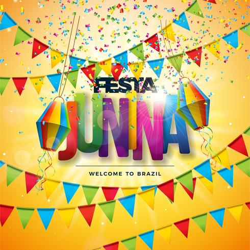 Festa Junina Illustration mit Parteiflaggen, Papierlaterne, bunten Konfettis und Typografie-Buchstaben auf gelbem Hintergrund. Vektor Brasilien Juni Festival Design