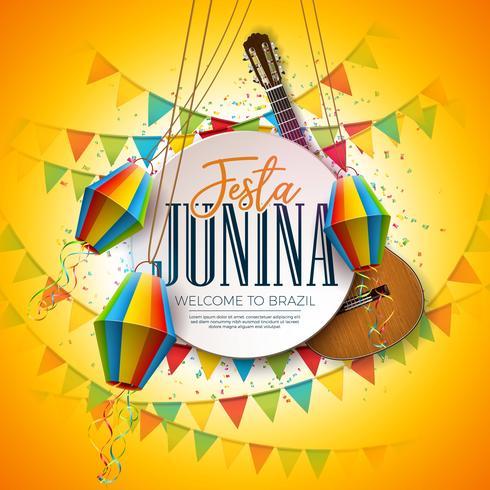Festa Junina Illustration avec guitare acoustique, drapeaux de fête et lanterne en papier sur fond jaune. Typographie sur table en bois vintage. Conception de festival de vecteur traditionnel Brésil juin