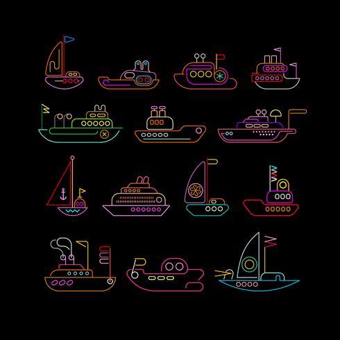 Navio neon cores vector conjunto de ícones
