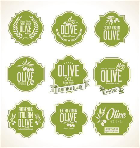 Olive oil retro labels collection vector