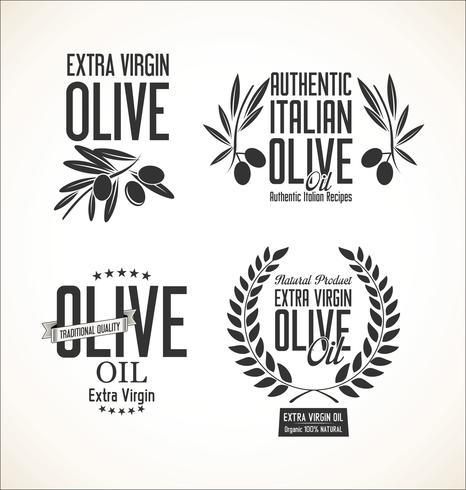 Colección de etiquetas retro de aceite de oliva.
