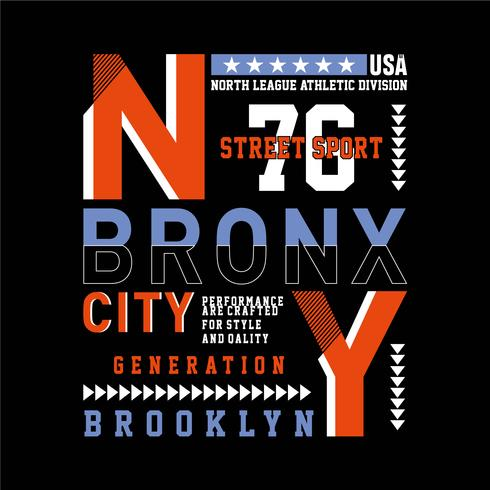 New York stad typografie ontwerp tee voor t-shirt