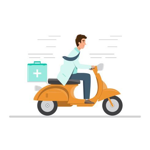 Arzt in Uniform Reiten Motorrad mit medizinischen Erste-Hilfe-Kasten