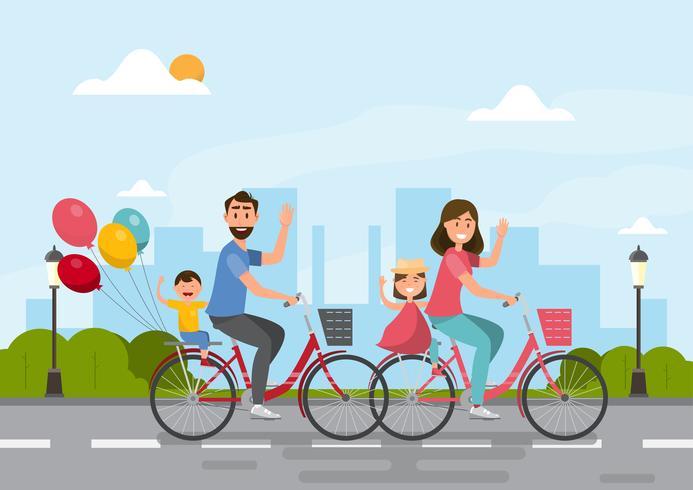 Família feliz. pai, mãe, menino e menina andando de bicicleta juntos vetor