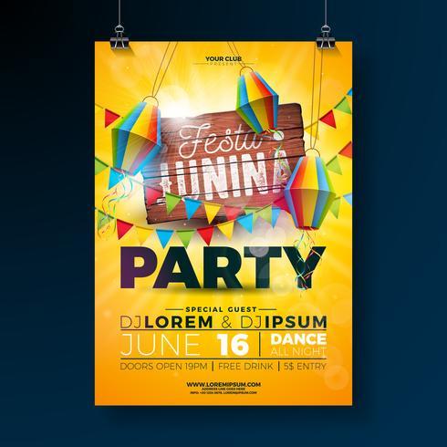 Festa Junina Party Flyer Concevoir avec la conception de la typographie sur une planche en bois vintage. Drapeaux et lanterne en papier sur fond jaune. Illustration de festival de vecteur Brésil juin