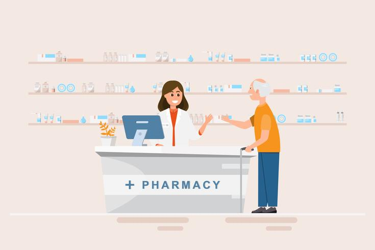 farmacia con farmacista e cliente in contro vettore