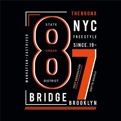 O T do projeto da tipografia de BRONX para a camisa de t