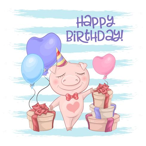 Postcard cute pig with balloons. Cartoon style Vector