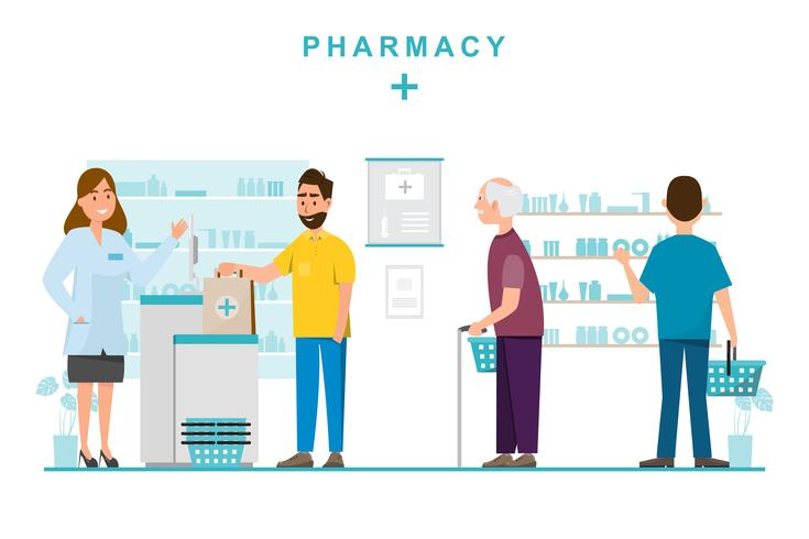 Farmacia con farmacéutico y cliente en mostrador. vector