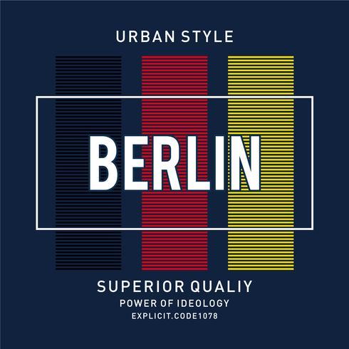 Illustration vectorielle sur un thème de Berlin. Typographie, graphisme t-shirt