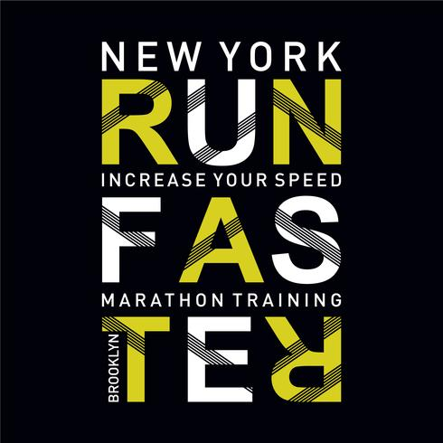 Illustrazione vettoriale su un tema di correre più veloce a New York City. Tipografia sportiva