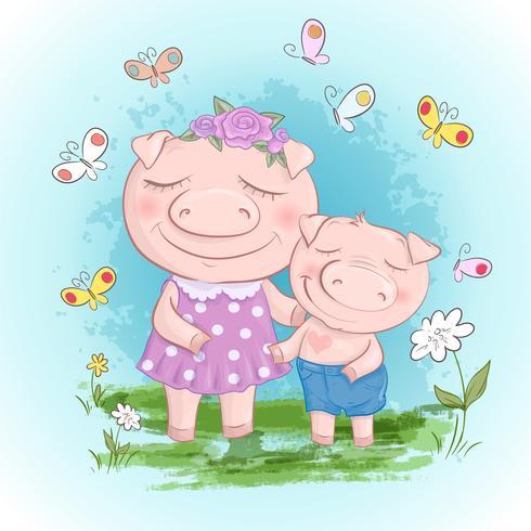 Divertido porco família mãe e filho. Porcos engraçados dos desenhos animados e amigos ou família do leitão. vetor