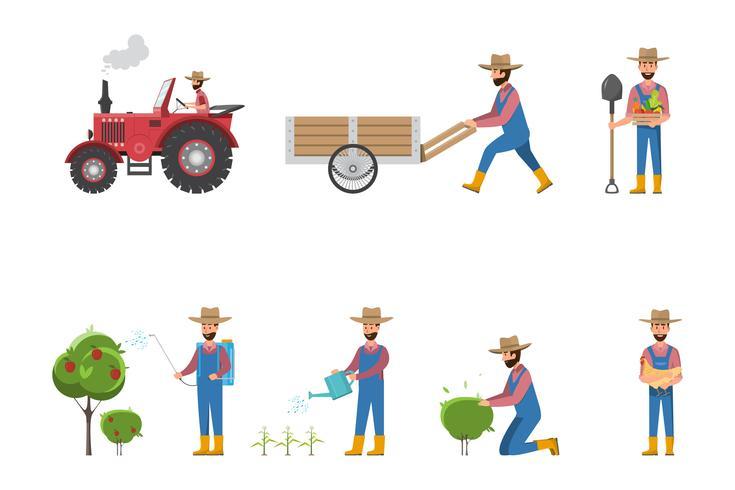 dibujos animados de granjero feliz en muchos personajes conjunto vector
