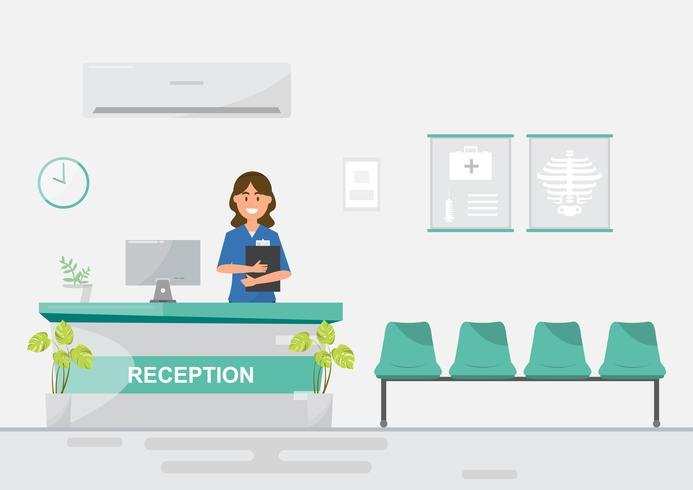 medical staff women in reception hospital on flat style. vector