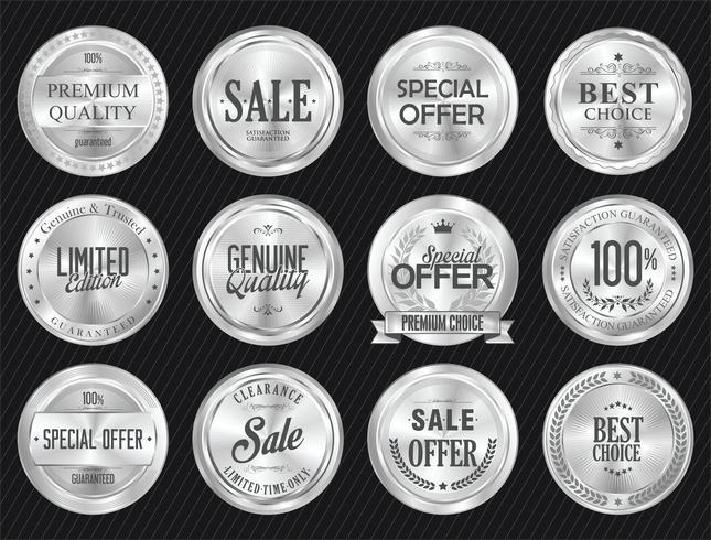 Insignias y etiquetas de lujo premium de plata. vector