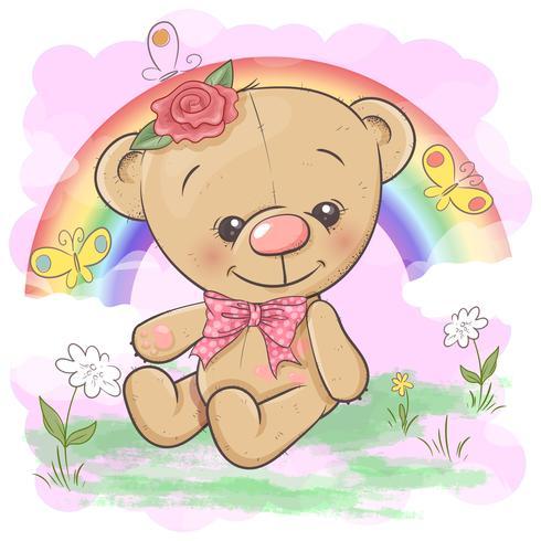 Postal lindo oso en el fondo del arco iris y el globo. Estilo de dibujos animados Vector