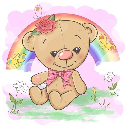 Postcard cute bear on the background of the rainbow and balloon. Cartoon style. Vector
